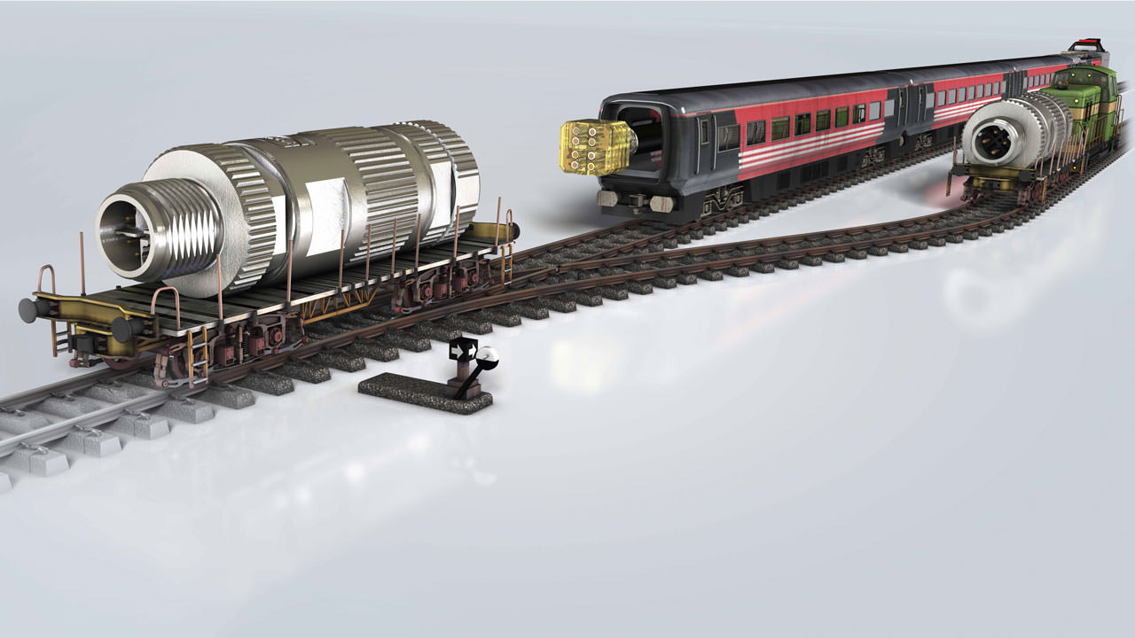 Modular preLink components with powerful EtherRail cable assemblies for data networks on railways.