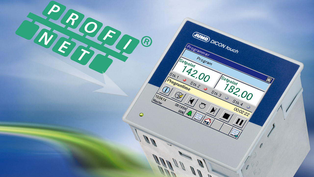 The DICON touch 2-channel process and program controller—the first JUMO product that has a PROFINET interface.