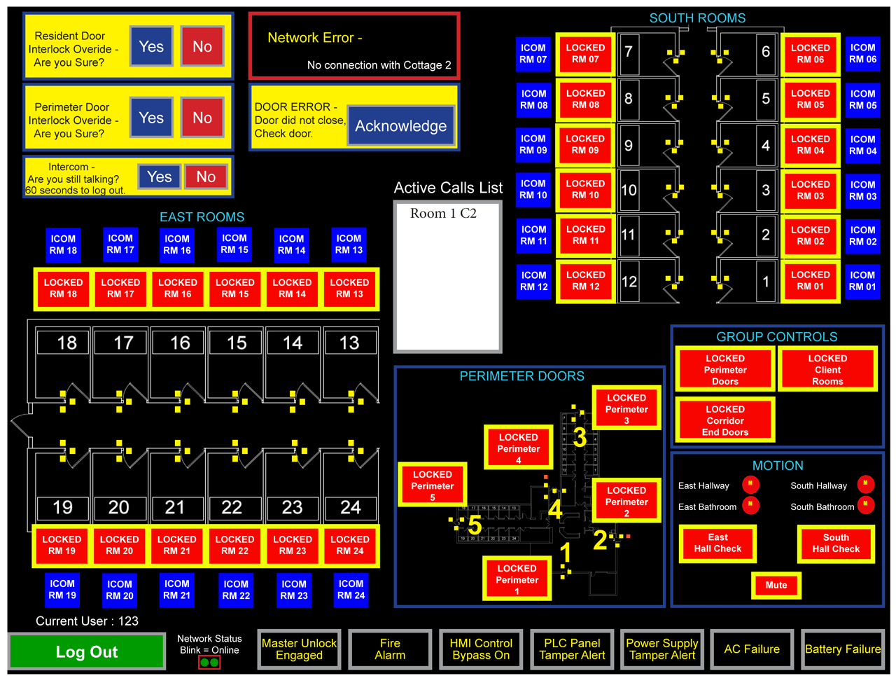 HMI screenshot based on geographical CAD drawing layout indicates door lock, motion detection, and call status of several resident rooms and hallways.