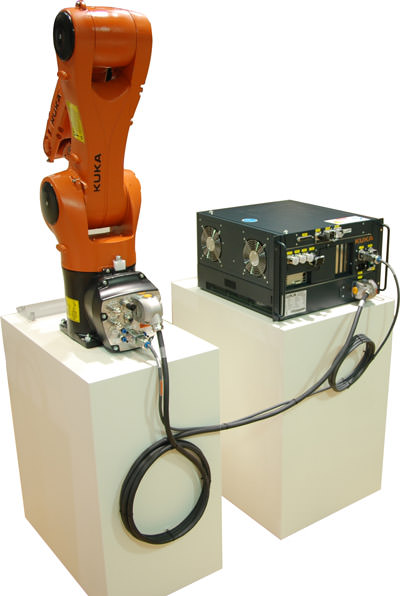Han-Yellock connector system on KR AGILUS robot system from KUKA.