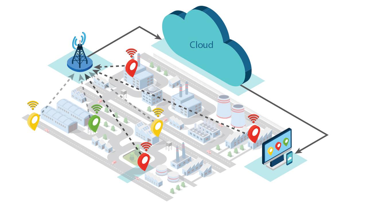 LoRa-based air pollution monitoring system.