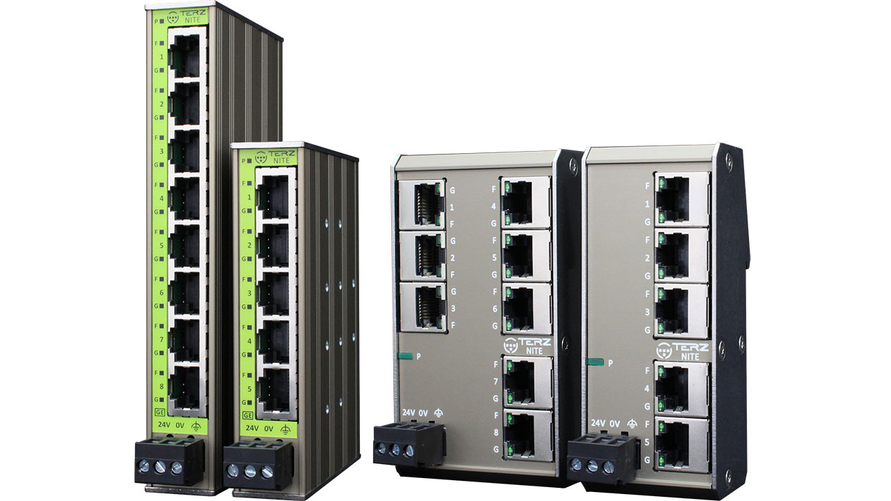 TERZ Unmanaged Industrial Ethernet Switches RJ45 Full Gigabit TERZ NITE RF RS UL
