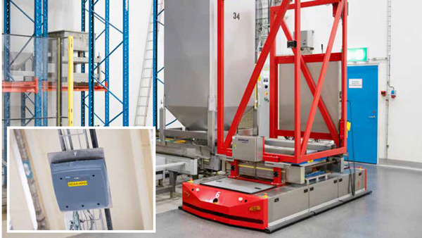 In the weighing and dispensing area, AGVs can communicate weight readings back to the PLC in real time via a wireless network that is also part of the Scalance W solution.