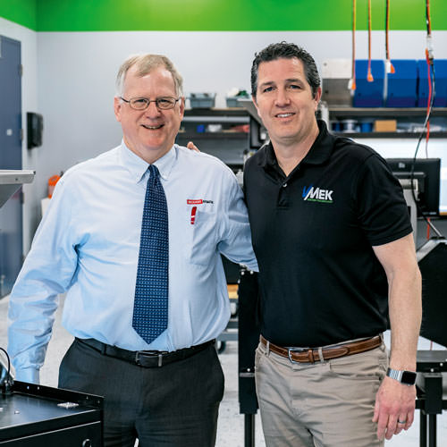 VMek General Manager Kent Lovvorn (right) and Beckhoff Regional Sales Engineer Chuck Padvorac, P.E., collaborated closely on selection of EtherCAT solutions.