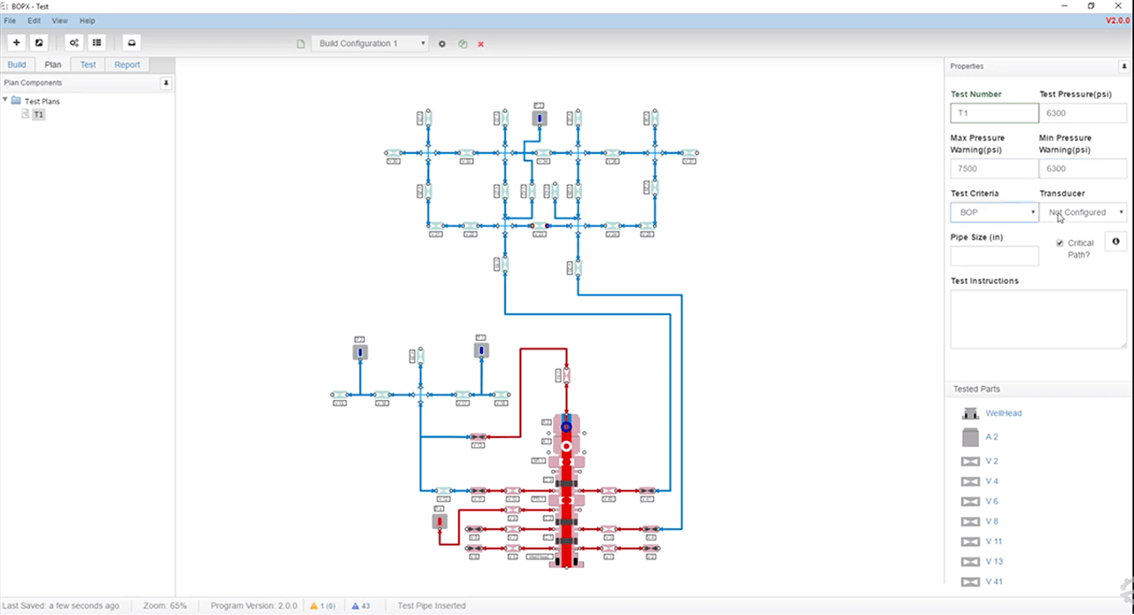 Engenuity's BOPX testing software lets users map valve arrays and set limits.